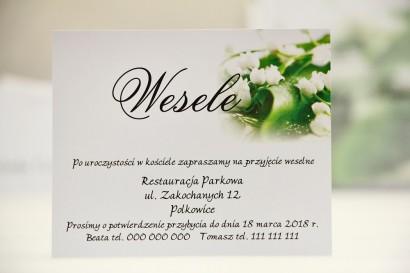 Bilecik do zaproszenia 120 x 98 mm prezenty ślubne wesele - Elegant nr 3 - Białe konwalie