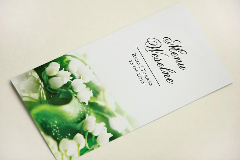 Menu weselne, stół weselny - Elegant nr 3 - Białe konwalie - Eleganckie kwiatowe wzory - dodatki ślubne