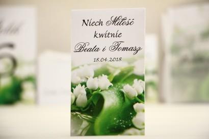 Podziękowania dla Gości weselnych - nasiona Niezapominajki - Elegant nr 3 - Białe konwalie - kwiatowe dodatki ślubne