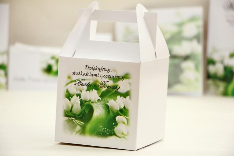 Pudełko na ciasto kwadratowe, tort weselny - Elegant nr 3 - Białe konwalie - kwiatowe dodatki ślubne