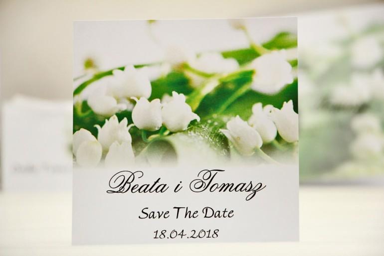 Bilecik Save The Date do zaproszenia ślubnego - Elegant nr 3 - Białe konwalie