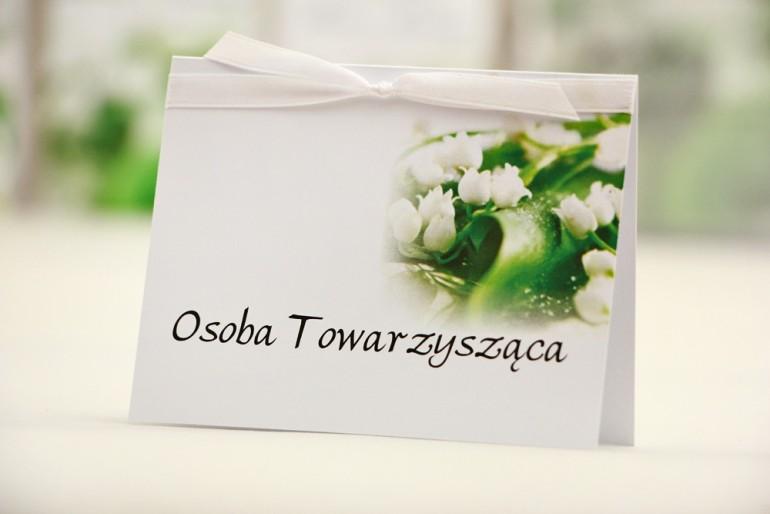 Winietki na stół weselny, ślub - Elegant nr 3 - Biała konwalia - kwiatowe dodatki ślubne
