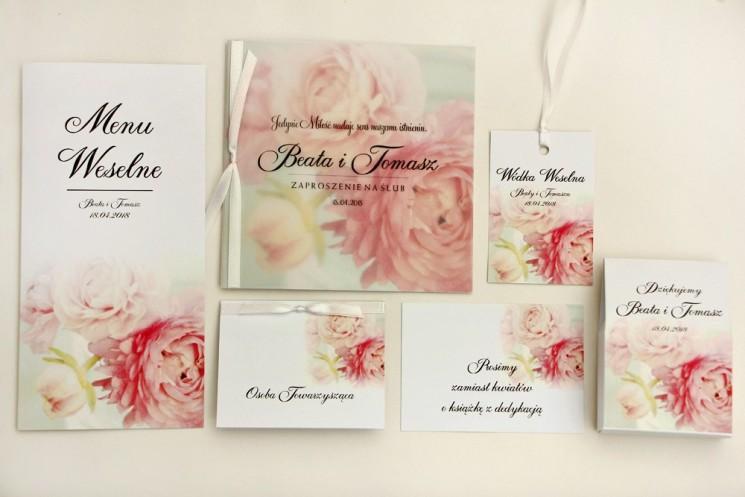 Zaproszenie ślubne z dodatkami - Elegant nr 4 - Pudrowe piwonie - Eleganckie kwiatowe z kalką