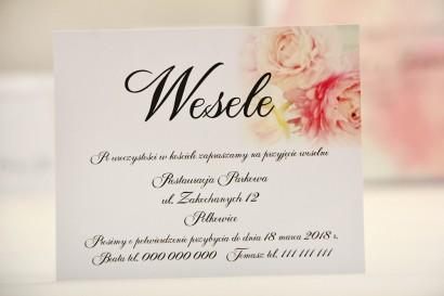 Bilecik do zaproszenia 120 x 98 mm prezenty ślubne wesele - Elegant nr 4 - Pudrowe piwonie