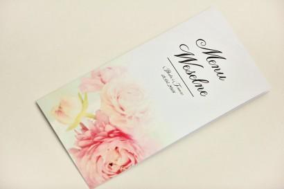 Menu weselne, stół weselny - Elegant nr 4 - Pudrowe piwonie - Eleganckie kwiatowe wzory - dodatki ślubne