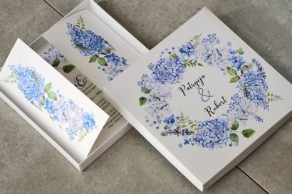 Efektowne Zaproszenie ślubne w pudełku - Pistacjowe nr 1 - Błękitne hortensje