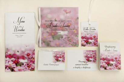 Zaproszenie ślubne z dodatkami - Elegant nr 5 - Fioletowe kwiaty - Eleganckie kwiatowe z kalką