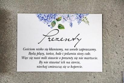 Bilecik do zaproszenia 105 x 74 mm prezenty ślubne wesele - Pistacjowe nr 1 - Błękitna hortensja