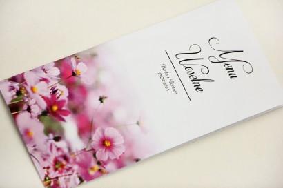 Menu weselne, stół weselny - Elegant nr 5 - Fioletowe kwiaty - Eleganckie kwiatowe wzory - dodatki ślubne