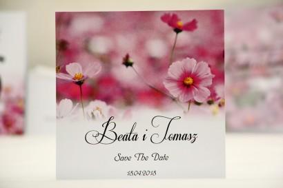 Bilecik Save The Date do zaproszenia ślubnego - Elegant nr 5 - Fioletowe kwiaty polne
