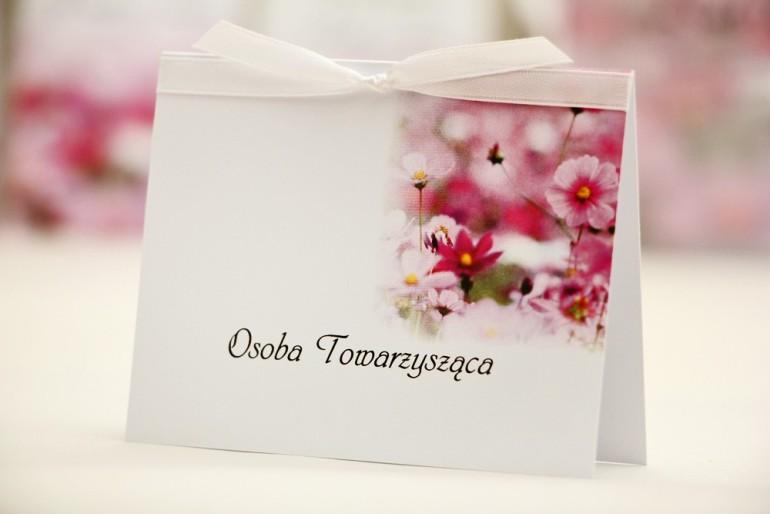 Winietki na stół weselny, ślub - Elegant nr 5 - Fioletowe kwiaty - kwiatowe dodatki ślubne