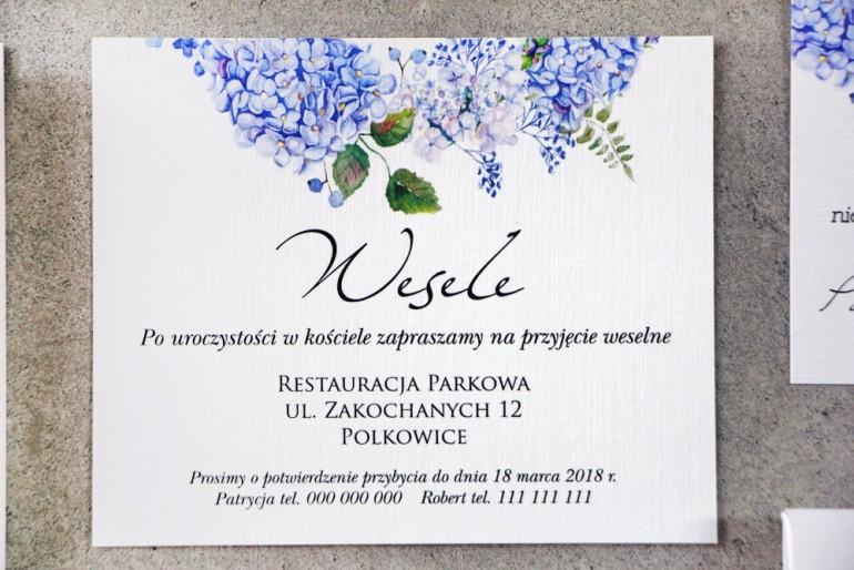Bilecik do zaproszenia 120 x 98 mm prezenty ślubne wesele - Pistacjowe nr 1 - Błękitna hortensja