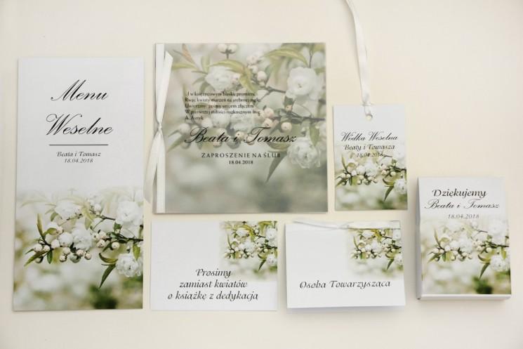 Zaproszenie ślubne z dodatkami - Elegant nr 6 - Białe kwiaty wiśni - Eleganckie kwiatowe z kalką