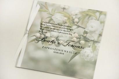 Zaproszenie ślubne, zaproszenia na ślub eleganckie z kalką - Elegant nr 6 - Białe kwiaty wiśni