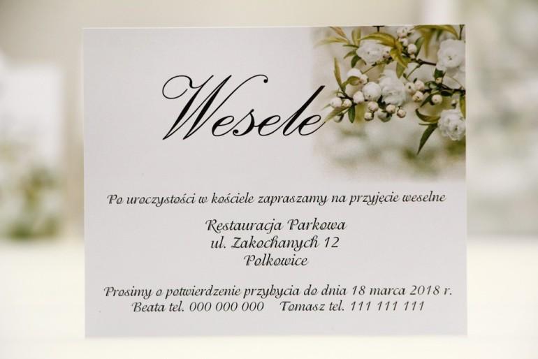 Bilecik do zaproszenia 120 x 98 mm prezenty ślubne wesele - Elegant nr 6 - Białe kwiaty
