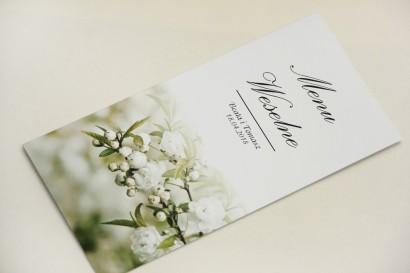 Menu weselne, stół weselny - Elegant nr 6 - Białe kwiaty - dodatki ślubne