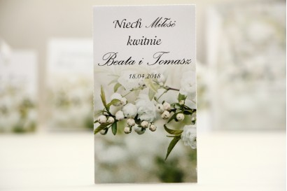 Podziękowania dla Gości weselnych - nasiona Niezapominajki - Elegant nr 6 - Białe kwiaty - dodatki ślubne
