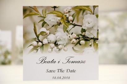 Bilecik Save The Date do zaproszenia ślubnego - Elegant nr 6 - Białe kwiaty
