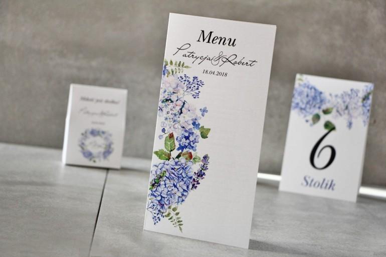 Menu weselne, stół weselny - Pistacjowe nr 1 - Błękitne hortensje i polne kwiaty