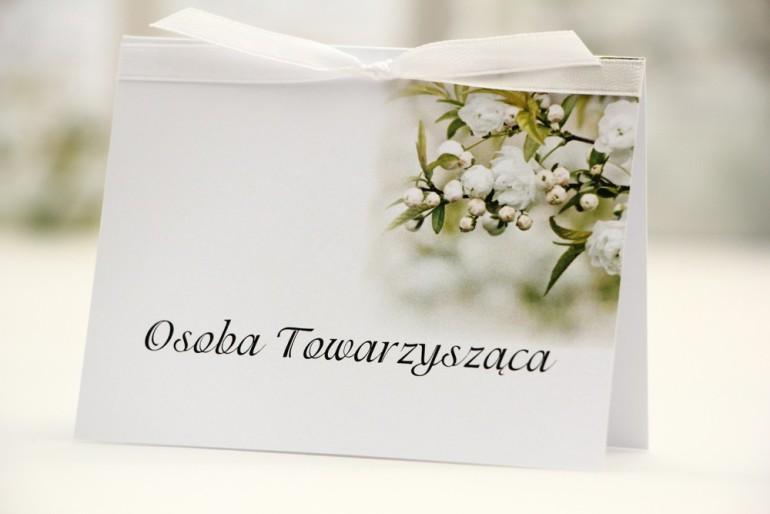 Winietki na stół weselny, ślub - Elegant nr 6 - Białe kwiaty - kwiatowe dodatki ślubne