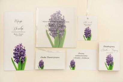 Zaproszenie ślubne z dodatkami - Elegant nr 7 - Fioletowy hiacynt - Eleganckie kwiatowe z kalką