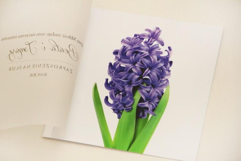 Zaproszenie ślubne, zaproszenia na ślub eleganckie z kalką - Elegant nr 7 - fioletowy hiacynt