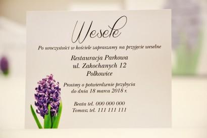 Bilecik do zaproszenia 120 x 98 mm prezenty ślubne wesele - Elegant nr 7 - Fioletowy hiacynt