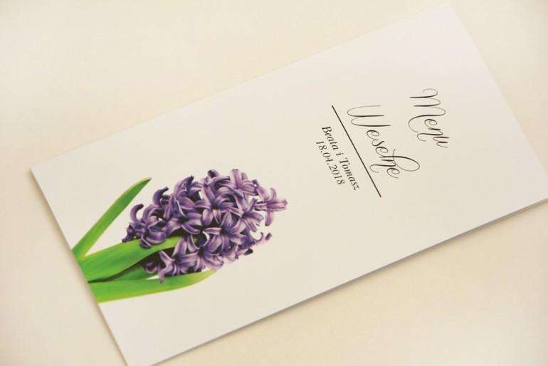Menu weselne, stół weselny - Elegant nr 7 - Fioletowy hiacynt - Eleganckie kwiatowe wzory - dodatki ślubne