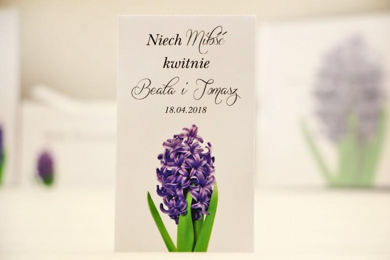 Podziękowania dla Gości weselnych - nasiona Niezapominajki - Elegant nr 7 - Fioletowy hiacynt - kwiatowe dodatki ślubne