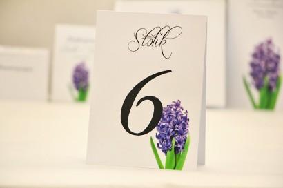 Numery stolików, stół weselny, ślub - Elegant nr 7 - Hiacynt - dodatki ślubne kwiatowe
