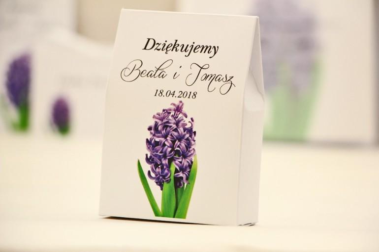 Pudełeczko stojące na cukierki, podziękowania dla Gości weselnych - Elegant nr 7 - Fioletowy hiacynt - Kwiatowe dodatki ślubne