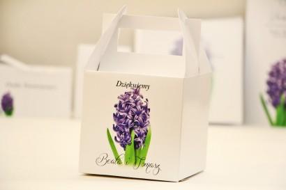 Pudełko na ciasto kwadratowe, tort weselny - Elegant nr 7 - Fioletowy hiacynt - kwiatowe dodatki ślubne