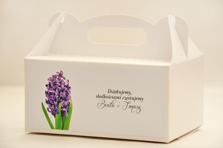 Prostokątne pudełko na ciasto, tort weselny, ślub - Elegant nr 7 - Hiacynt - kwiatowe dodatki ślubne