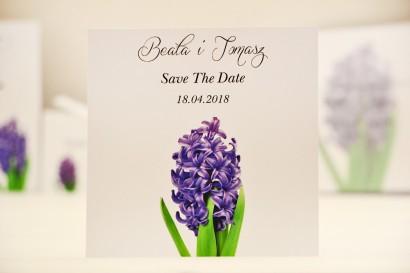 Bilecik Save The Date do zaproszenia ślubnego - Elegant nr 7 - Fioletowy hiacynt