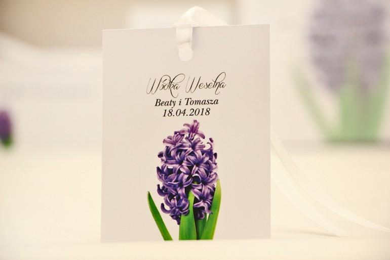 Zawieszka na butelkę, wódka weselna, ślub - Elegant nr 7 - Fioletowy hiacynt - kwiatowe dodatki ślubne
