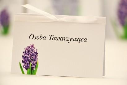 Winietki na stół weselny, ślub - Elegant nr 7 - Fioletowy hiacynt - kwiatowe dodatki ślubne