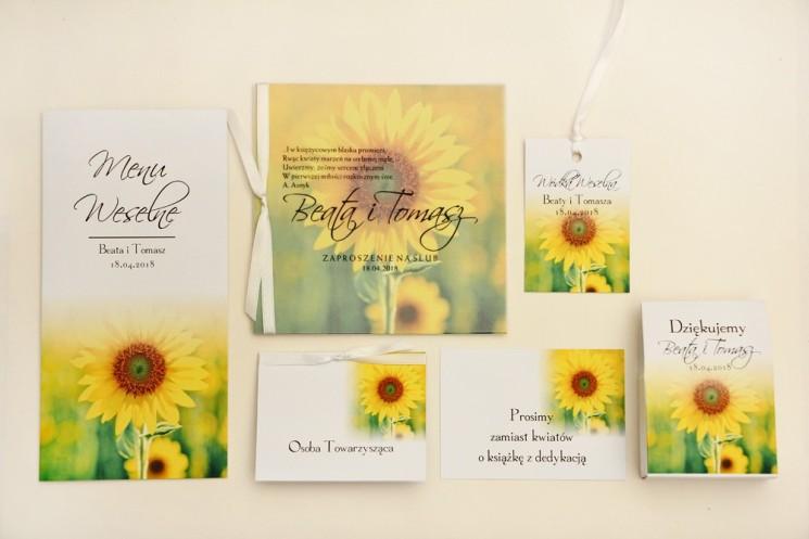 Zaproszenie ślubne z dodatkami - Elegant nr 8 - Letnie żółte słoneczniki - Eleganckie kwiatowe z kalką