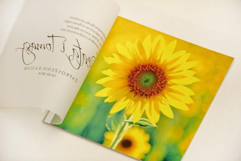 Zaproszenie ślubne, zaproszenia na ślub eleganckie z kalką - Elegant nr 8 - Letnie słoneczniki