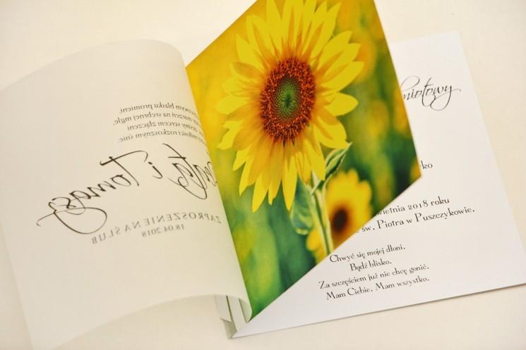zaproszenia ślubne ze słonecznikiem