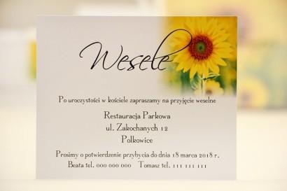 Bilecik do zaproszenia 120 x 98 mm prezenty ślubne wesele - Elegant nr 8 - Letnie słoneczniki