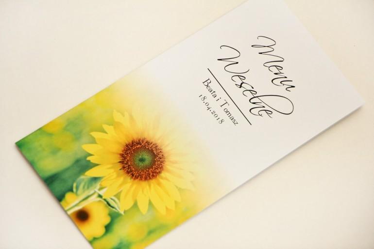 Menu weselne, stół weselny - Elegant nr 8 - Letnie żółte słoneczniki - Eleganckie kwiatowe wzory - dodatki ślubne