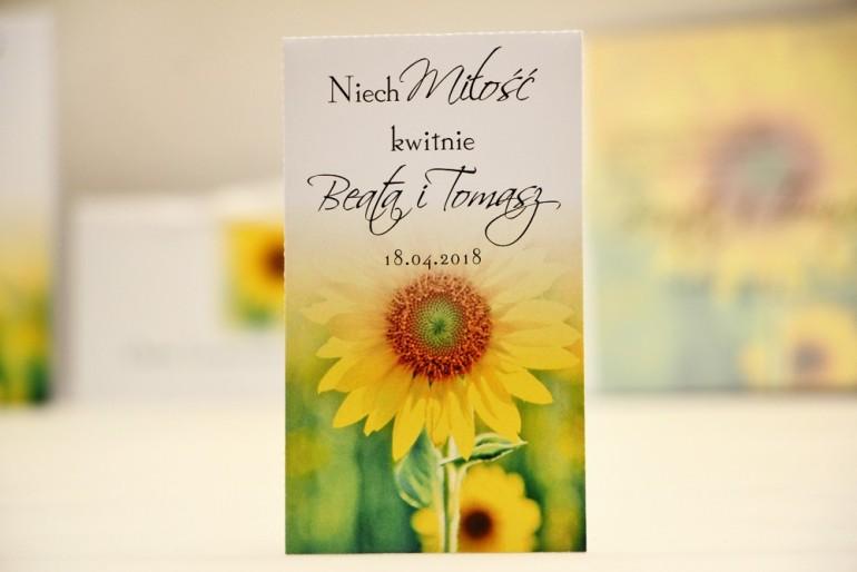 Podziękowania dla Gości weselnych - nasiona Niezapominajki - Elegant nr 8 - Letnie słoneczniki - kwiatowe dodatki ślubne