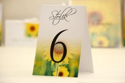 Numery stolików, stół weselny, ślub - Elegant nr 8 - Letnie słoneczniki - dodatki ślubne kwiatowe