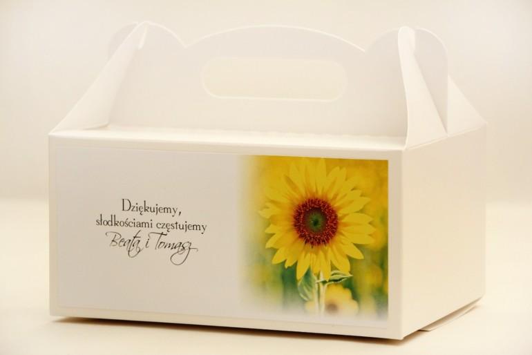 Prostokątne pudełko na ciasto, tort weselny, ślub - Elegant nr 8 - Letnie żółte słoneczniki - kwiatowe dodatki ślubne