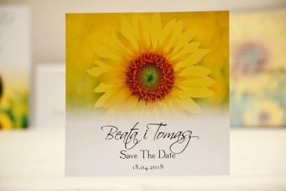 Bilecik Save The Date do zaproszenia ślubnego - Elegant nr 8 - Żółte letnie słoneczniki