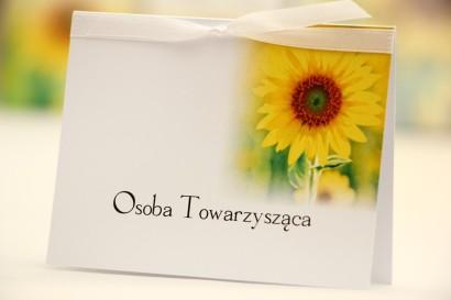 Winietki na stół weselny, ślub - Elegant nr 8 - Letnie słoneczniki - kwiatowe dodatki ślubne