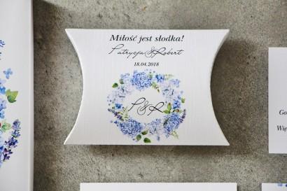 Pudełeczko poduszeczka na cukierki, podziękowania dla Gości weselnych - Pistacjowe nr 1 - Błękitne hortensje
