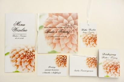 Zaproszenie ślubne, zaproszenia na ślub eleganckie z kalką - Elegant nr 9 - Łososiowe dalie