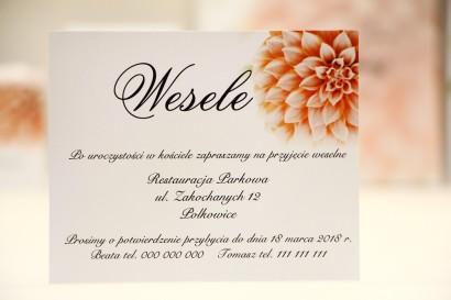 Bilecik do zaproszenia 120 x 98 mm prezenty ślubne wesele - Elegant nr 9 - Łososiowe dalie