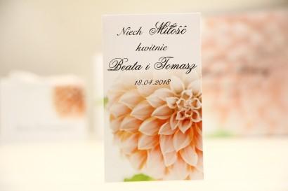 Podziękowania dla Gości weselnych - nasiona Niezapominajki - Elegant nr 9 - Łososiowe dalie - kwiatowe dodatki ślubne